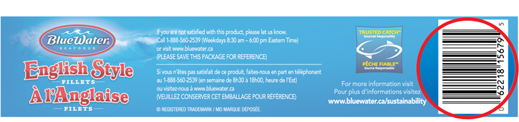 Bluewater Package UPC Code