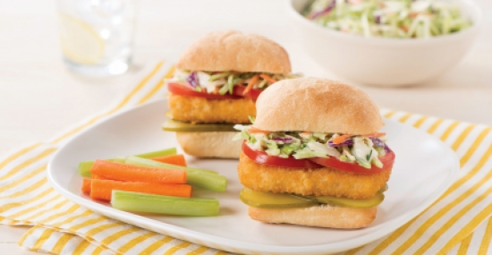 Fish Burgers with Tangy Dill Coleslaw
